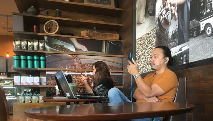 These customers in a Costa Rican Starbucks may or may not be digital nomads