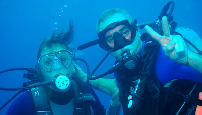 My husband Rudi and I diving in Costa Rica