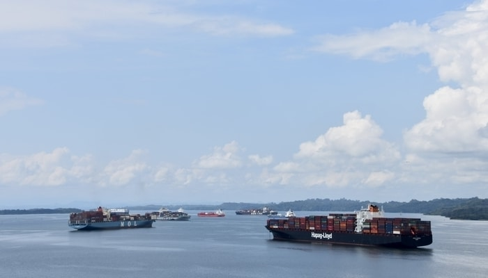 Ships in Gatun Lake, Panama