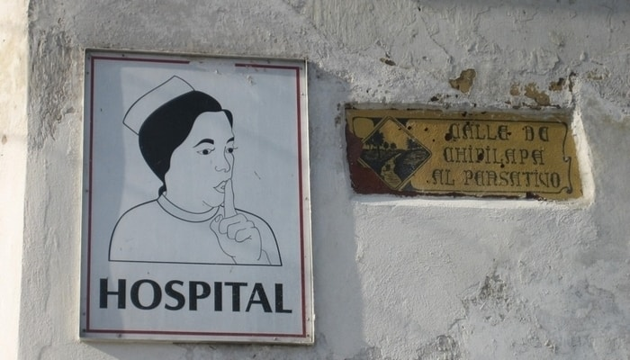 Healthcare in Guatemala: Hospital sign in Antigua