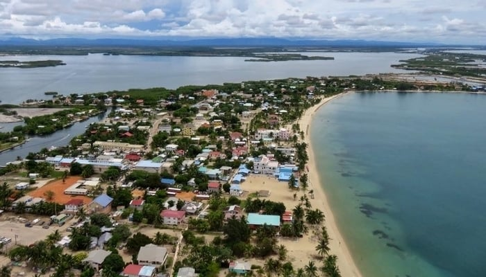 Placencia Village, Belize from the air
