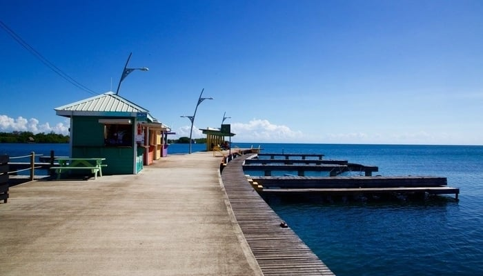 The village pier in Placencia, Belize